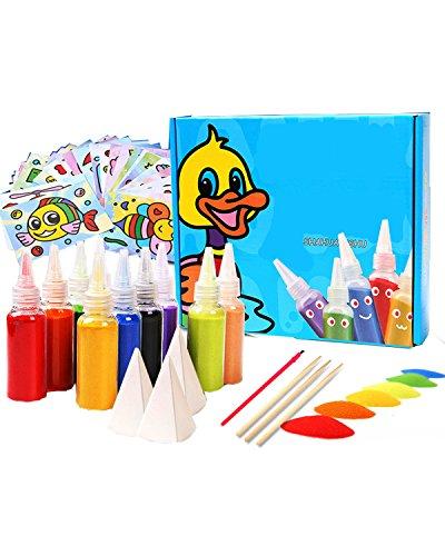 PRALB Sand Art kit,12 Colors Colored Sand Art Kit Art Sand Scenic Sand wiht 12 Sheets Sand Art Painting Cards,Brush,Wooden Pen,Paper funnel Set Children Art Toy