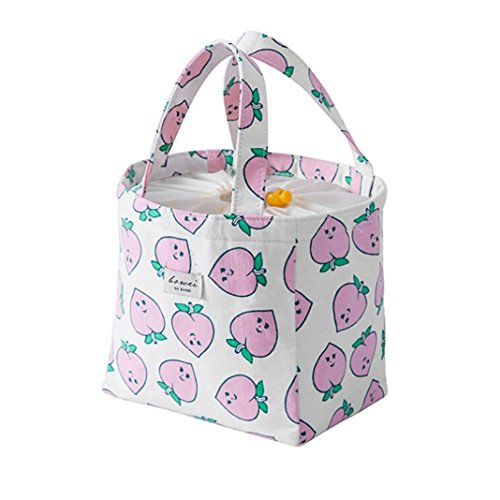 - Koolee Cute Lunch Box Bag Tote Waterproof Insulation Bag Large Portable Lunch Box Peach Lunch Bag (Pink-Drawstring)