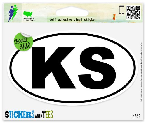 Kansas KS White State Oval Vinyl Car Bumper Window Sticker 3