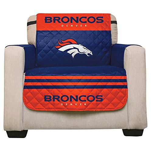 NFL Denver Broncos Recliner Reversible Furniture Protector with Elastic Straps, 80-inches by 65-inches