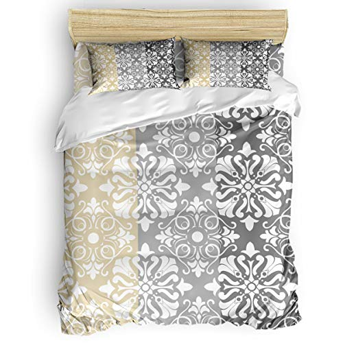 Luxury Chateau Blanket - Smile Sunflower 4 Pieces Duvet Cover Set Comfort Bed Sheet Set for Girls Boys,Colorful Classic Chateau Floral Pattern Grey and Yellow,Include 1 Duvet Cover+1 Bed Sheets+ 2 Pillow Cases Queen Size