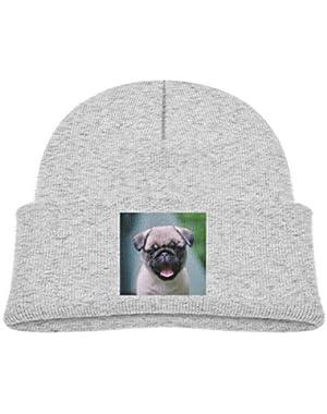 Kids Knitted Beanies Hat Cute-Pug-Dogs Winter Hat Knitted Skull Cap for Boys Girls Black