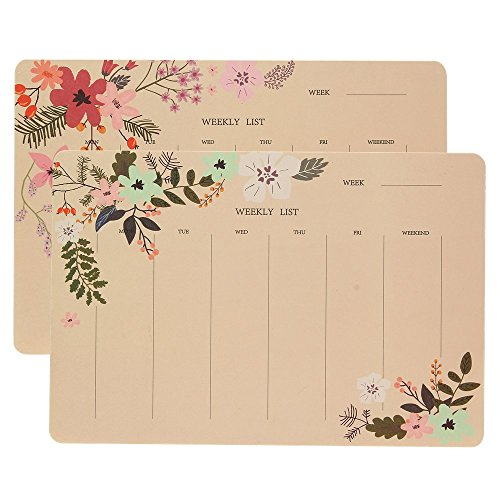 Shulaner Weekly Planner Pad Notebook with 50 Tear-Off Week Plan Sheets Make-A-List Calendar Pads for Home or Office, Pack of (Blank Daily Calendar)