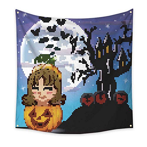 BlountDecor Gorgeous Tapestry Halloween Night Background with Cute Little Girl in Basket Pumpkin 39W x 39L Inch for $<!--$26.70-->