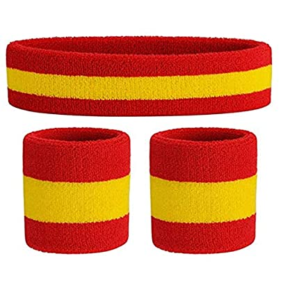 Lukiny Sweatband Set Sports Headband Wrist Striped Sweatbands Terry Cloth Wristband Athletic Exercise Basketball C Estimated Price -