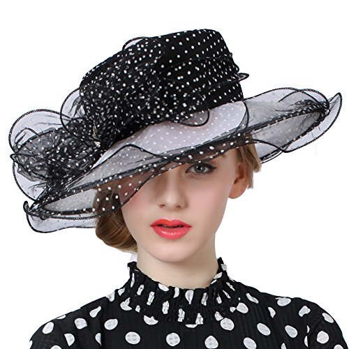 (June's Young Women Ladt Hats Organza Lace Polka Dot Black White Wedding Wear for Occasion)