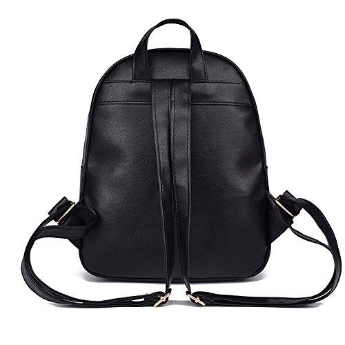 Femmes Paquet Esailq De Petit En Scolaire Bag Sac Messenger Dos Cuir Noir Carte Mode À CqgaTq5