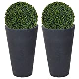 URBN Living 2x Round Charcoal Grey Plant Pot With Artificial Grass Dome Ball