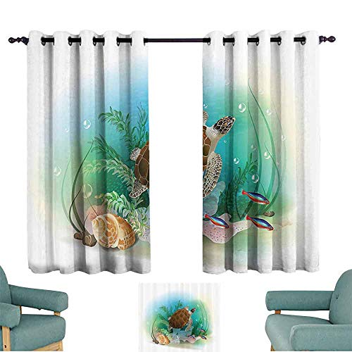 DILITECK Decor Curtains Ocean Decor Sea Turtle Swims in The Ocean Tropical Underwater World Aquarium Illustration Print Noise Reducing Curtain W55 xL45 Green - Island Tortilla Turtle