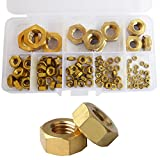 Brass Hex Nut Metric Threaded Hexagon Metal Machine Nuts M2 M3 M4 M5 M6 M8 M10 M12 Assortment Kit,112pcs