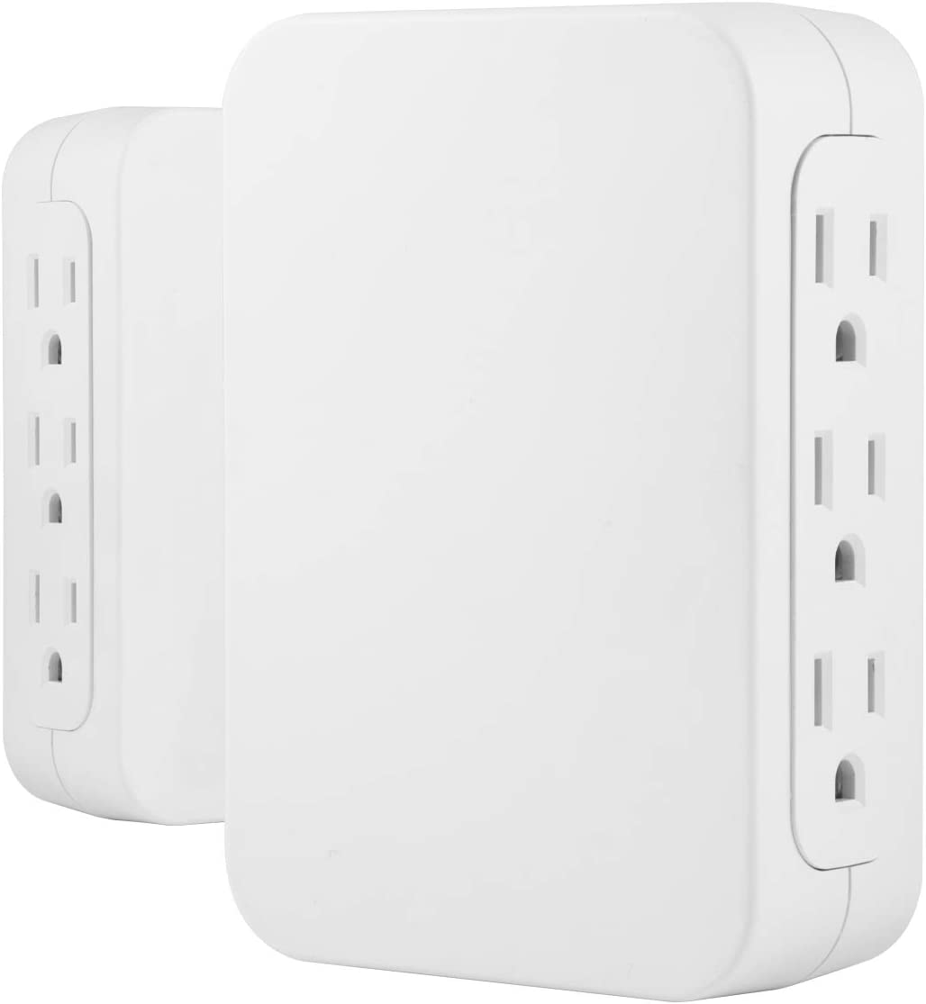 GE Pro Tap Surge Protector, Side Access, Power Adapter, 3 Prong Wall Mount, Plug Extender, Warranty, UL Listed, White, 2 Pack, 56207, 6 Outlet |1200 Joules