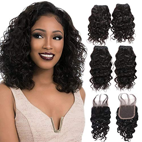 FASHION LINE Brazilian Body Wave/Water Wave/Deep Wave/Funmi/Human Hair Bundles with Lace Closure Unprocessed Human Hair Natural Black(Water Wave, 4 Bundles with 4x4 Lace Closure) ()