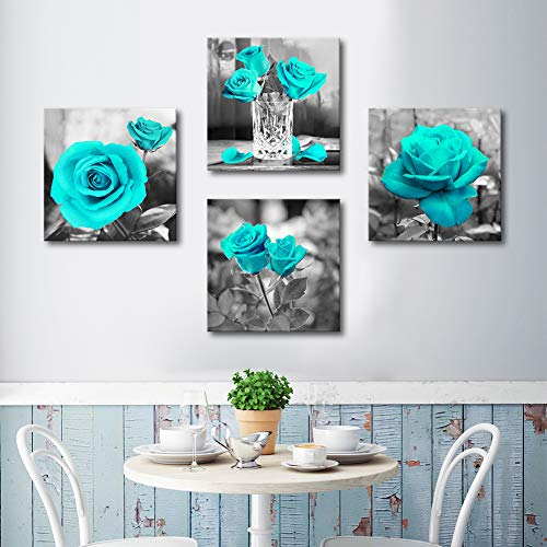 Bathroom Wall Decor Canvas Wall Art For Bedroom, Black and white Blue Rose Flower Painting, Wall Decor 12X48inches 4 Pieces Framed Canvas Prints Ready to Hang for Home Decoration Office Wall Deco