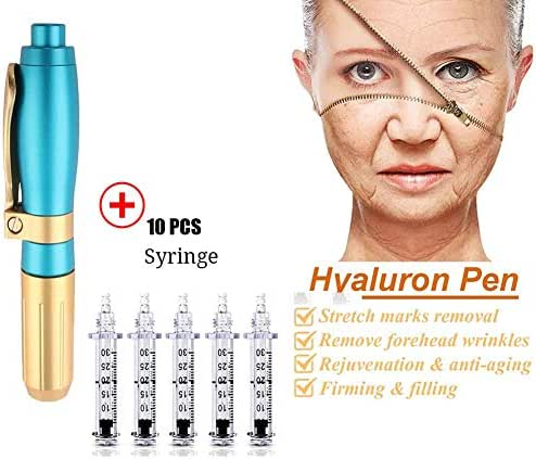 Yilian 0.5ml Hyaluron Injection Pen, Needle-Free Hyaluron Pen, Help to Reduce Blemishes and Wrinkles, Restore Skin Elasticity with Ampoule Head