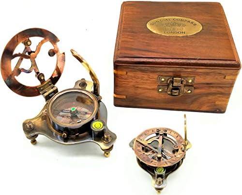 "A S Handicrafts Sundial Compass, Vintage Marine West London Antique 2.5"" Brass Sundial Compass Nautical Decor Big Brass Triangle Sundial Compass with Adjustable Screw Legs"