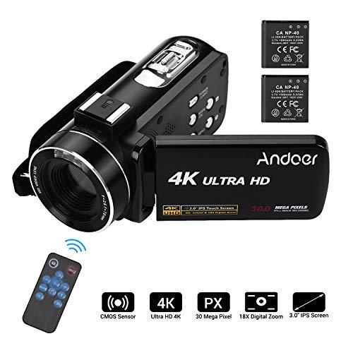 Andoer Digital Video Camera 4K Camcorder for YouTube Vlogging Recorder, Ultra HD Handheld DV 1080P 30MP 24FPS 3.0 Inch…