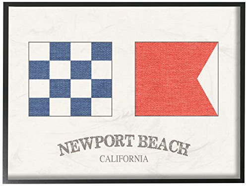 The Stupell Home Décor Collection Newport Beach Nautical Flags Framed Giclee Texturized (Newport Nautical Decor)
