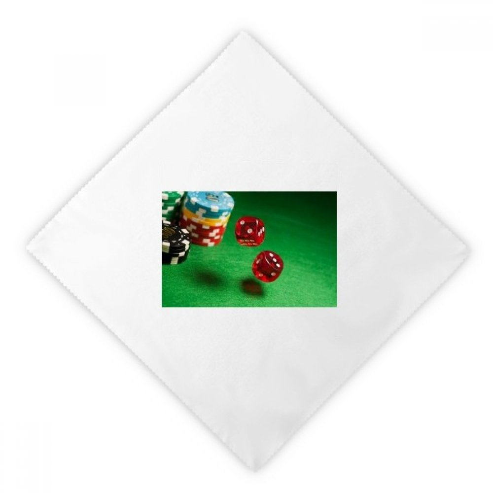Dice Chips Green Table Photo Dinner Napkins Lunch White Reusable Cloth 2pcs