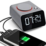 Alarm Clock Charger,Digital Alarm Clock for Bedroom,with Dual USB Charging Port for Cell Phone and Snooze/Dimmable/Battery Backup Function (Gray)