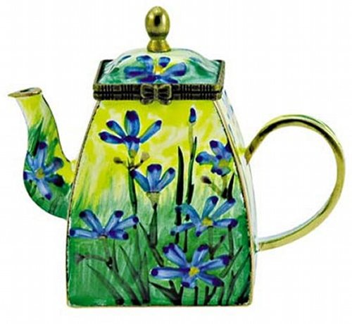 Kelvin Chen Blue-Eyed Grass Floral Hand Painted Decorative Enamel Teapot