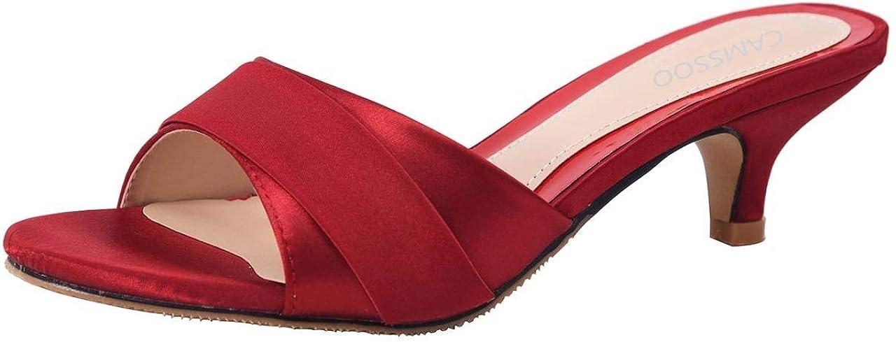 Women's Satin Kitten Heels Mules Sandals Toe Slip B Open 5 ☆ Limited price sale popular On