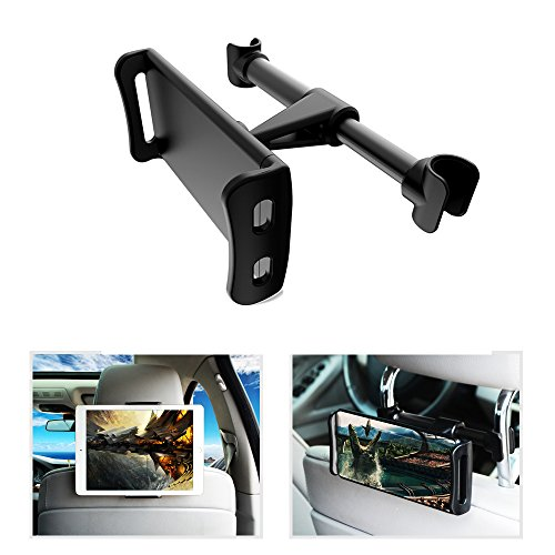 "pzoz Car Tablet Headrest Mount Holder Universal Backseat Portable DVD Player Kids Compatible Nintendo Switch Apple Pad Pro Air Mini Kindle Fire HD Samsung Galaxy Tab 4""-10.5"" (Black) -  B074QM3MDL"
