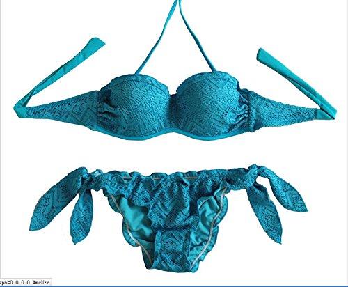 YONGYI Europa y el elegante y verano playa bikini fresca lei serigrafiado dividir dos piezas bikini swimsuit Blue