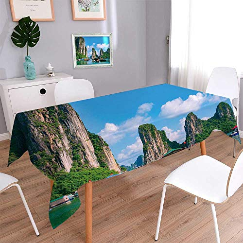 Spring & Summer Outdoor Tablecloth, Spill Proof and Waterproof floating fishing village and rock island in halong bay vietnam southeast asia unesco world Easy Care Spillproof/W54 x L72 Inch