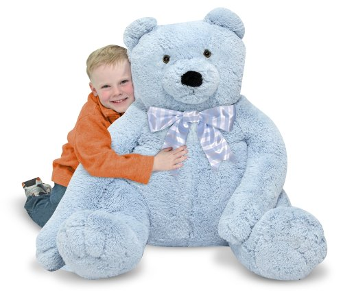 Blue Stuffed Bear - Melissa & Doug Jumbo Blue Teddy Bear Stuffed Animal (over 2 feet tall)