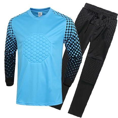 FidgetFidget Mens Soccer Goalkeeper Sponge Protector Suit Camisetas De Futbol BlueUS L/Asian XXL