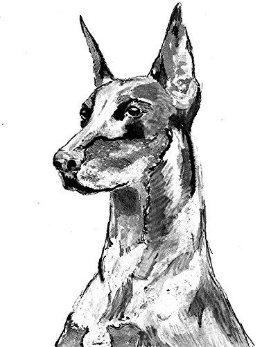 Doberman Pinscher Dog Breed - Abstract Doberman Art, Black White DOBERMAN PINSCHER Dog Breed Watercolor, Doberman mum gift, Dobie owner Doberman Art Print