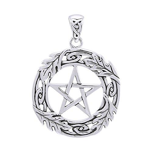 (Oak Leaf Framed Celtic Knot Pentacle Pentagram Sterling Silver)