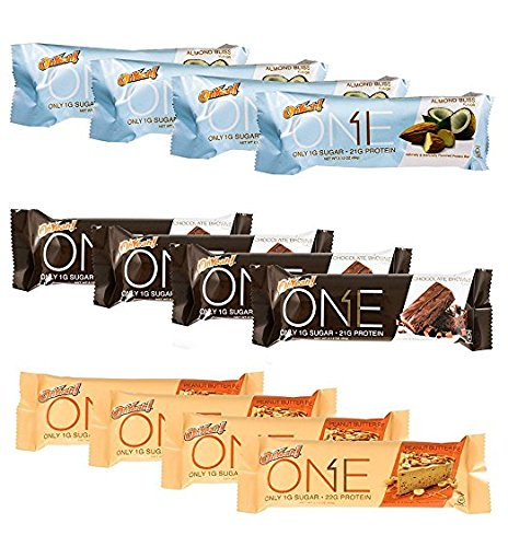 ISS Research Oh Yeah! One Bar Nuts and Chocolate Flavors Protein Bar Variety Pack Bundle Almond Bliss, Chocolate Brownie and Peanut Butter Pie, 4 Pack each (Best Tasting Protein Bars)