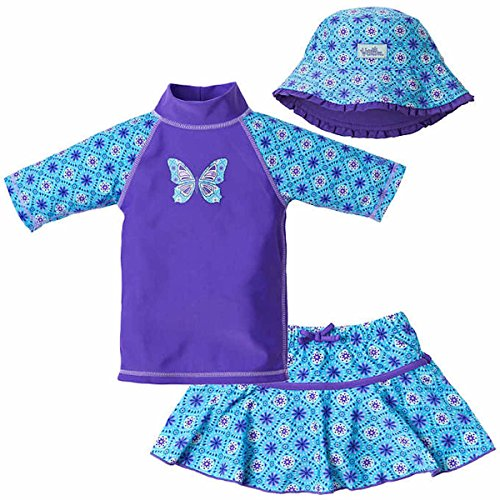 UV Skinz Girls' 3-piece Swim Set. UPF 50+ Sun Protection Swim Set