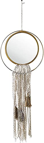 MOCOHANA Hanging Round Mirror with Macrame Fringe Tassels Art Boho Decorative Mirror Wall Decor for Apartment Living Room Bedroom Baby Nursery Dorm Entryways, Loop