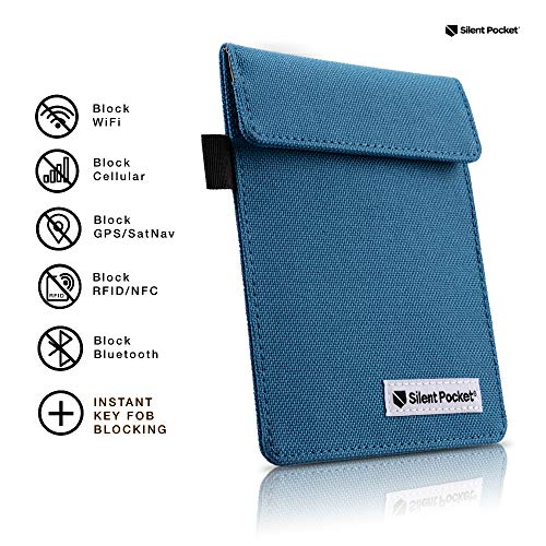 (Silent Pocket Signal Blocking Faraday Key Fob Case - Car Anti Theft Device Shielding Against All Signal Types, Including RFID Blocking & Durable Faraday Bag, Fits Most Car Keyfobs (Blue, X-Small))