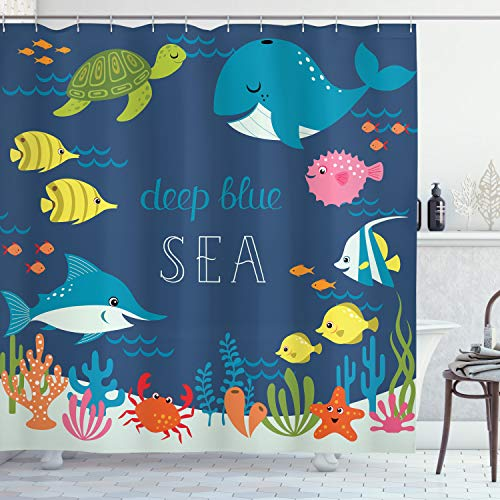 Ambesonne Cartoon Shower Curtain, Underwater Graphic with Algaes Coral Reefs Turtles Fishes The Life Aquatic, Cloth Fabric Bathroom Decor Set with Hooks, 75 Long, Navy Green