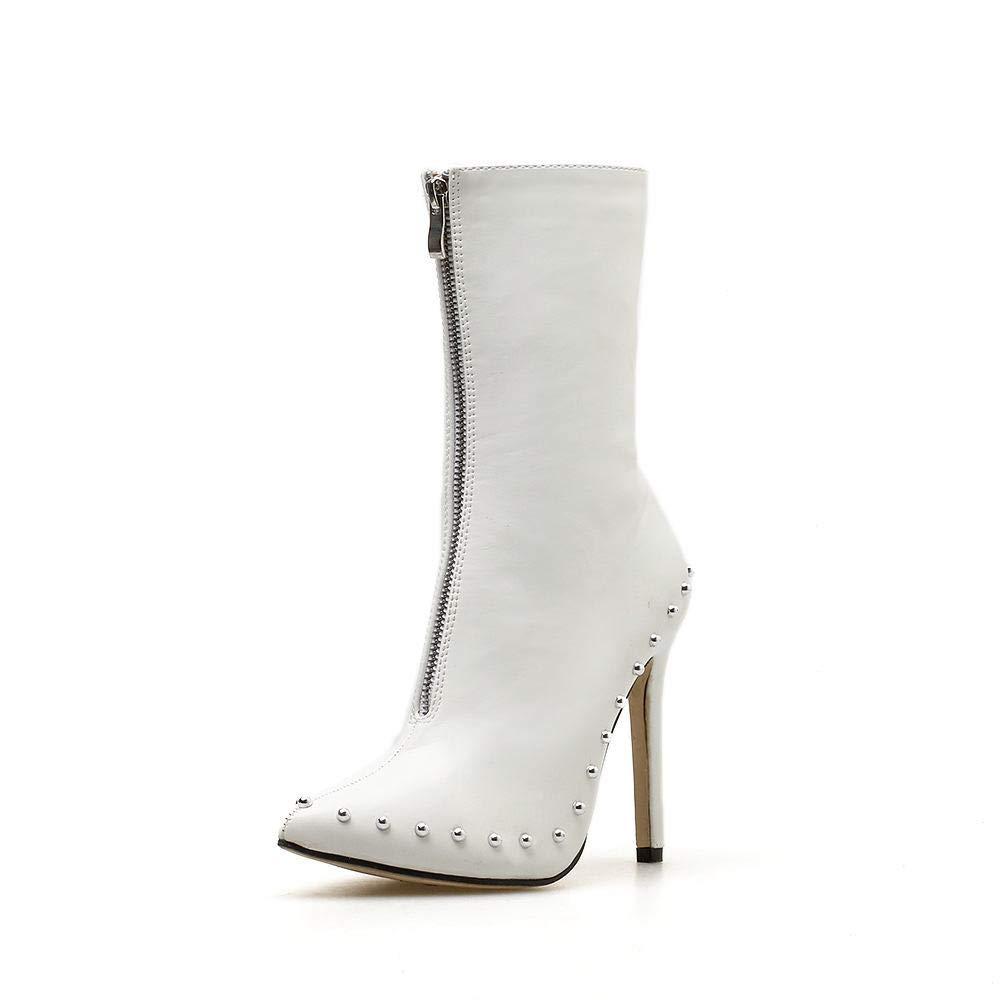 Yajiemei Damenstiefel Nieten Reißverschlussstiefel (Farbe   Weiß Größe   41)