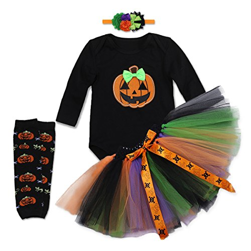 Newborn Baby Girls First Halloween Pumpkin Costume Outfits Romper Jumpsuit Tutu Skirt Leg Warmers Headband Set (Dance Halloween Pumpkin)