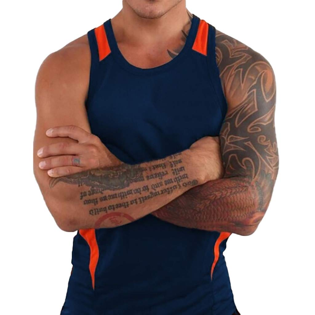 Forthery Men'S Round Collar Tank Top Slim Fit Athletic Tee Shirt Workout Fitness Vest(Navy,US Size XL = Tag 2XL)