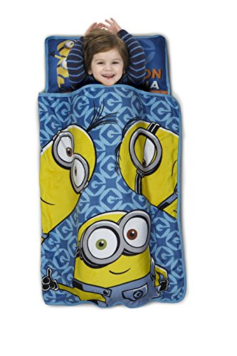 Minions One in a Minion Toddler Nap Mat - Includes Pillow & Fleece Blanket – Great for Boys and Girls Napping at Daycare, Preschool, Or Kindergarten - Fits Sleeping Toddlers and Young Children