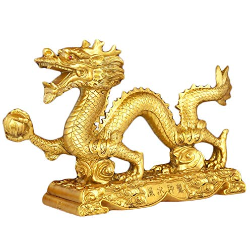 (Bwinka Chinese Gold feng Shui Dragon Statue and Figurines and Sculptures and Collectibles for Luck & Success )