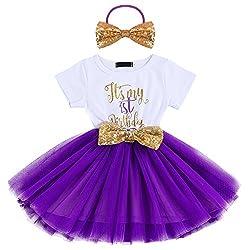Girls Birthday Shinny Sequin Printed Dress