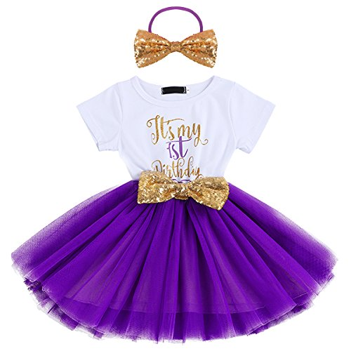 IWEMEK Baby Girls Newborn Christmas Birthday Party Cake Smash Princess Dress up Bowknot Sequin Tulle Tutu Dance Ball Gowns Purple One Year+ Gold -