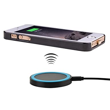 brand new ad6ac 2be9d Wireless Charger for iPhone 5S/ SE/ 5, Antye Qi Wireless Charging Receiver  Shell Case and Qi Power Wireelss Charger Pad for iPhone 5, 5S, SE, Black