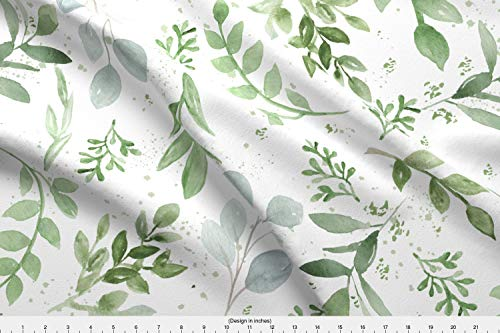 Spoonflower Eucalyptus Fabric - Boxwood Magnolia Leaves Hand Painted Watercolor Bluegreen Sage Green Greenery - by Daily Miracles Printed on Linen Cotton Canvas Ultra Fabric by The Yard -