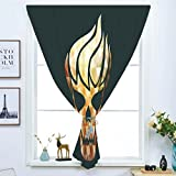 dark grey curtains dunelm Blackout Window Curtain,Free Punching Magic Stickers Curtain,Modern,Gothic Skull with Fractal Effects in Fire Evil Halloween Concept,Yellow Light Caramel Dark Grey,Paste Style,for Living Room