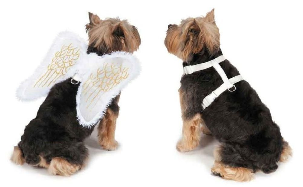 Angel Wing Dog Harness White Costume Cute Functional Use D-Ring Leash Attachment