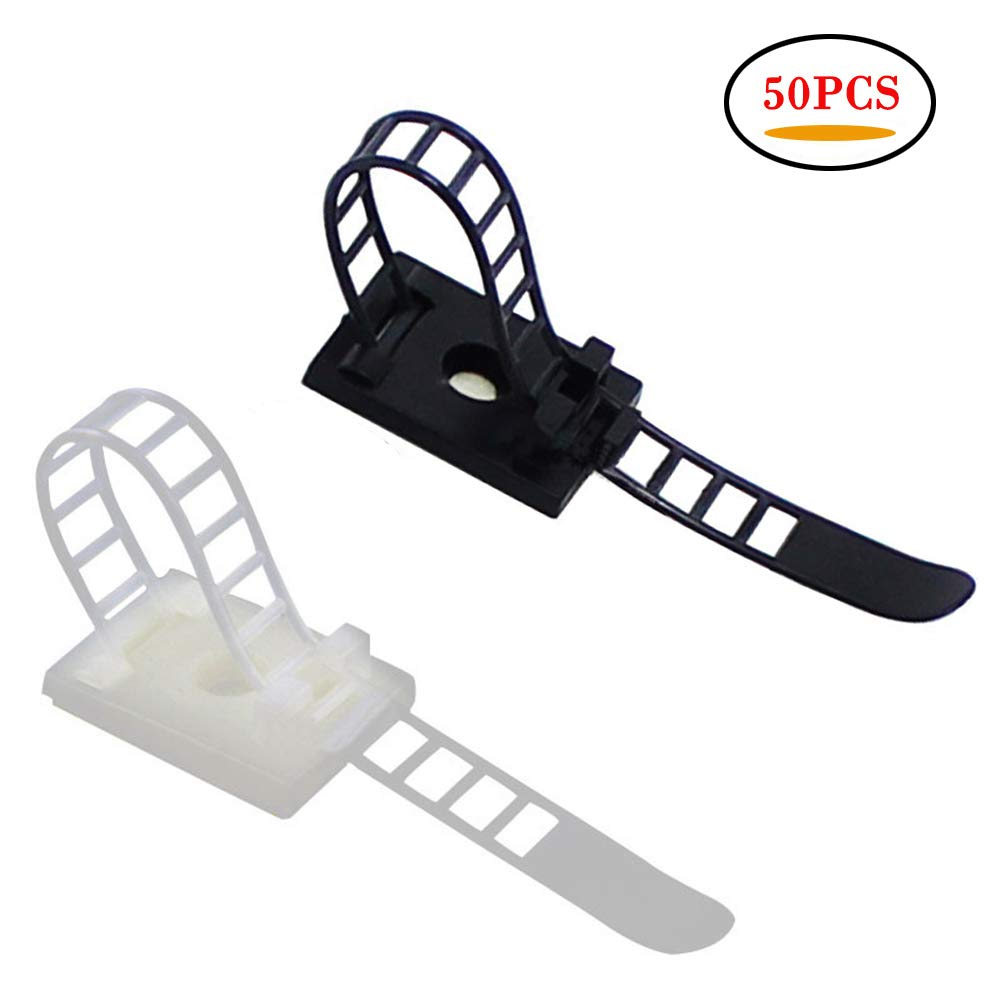 50Pcs Adjustable Self-Adhesive Nylon Cable Straps Cable Ties Cord Clamp for wire management, 25PCS White Adjustable Multipurpose Cable Ties and 25PCS Black