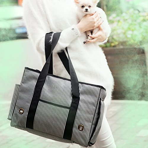 BUYITNOW Portable Strip Pet Carrier Purse Travel Soft Sided Oxford Tote Shoulder Hand Bag for Small Medium Large Dogs and Cats by BUYITNOW (Image #3)